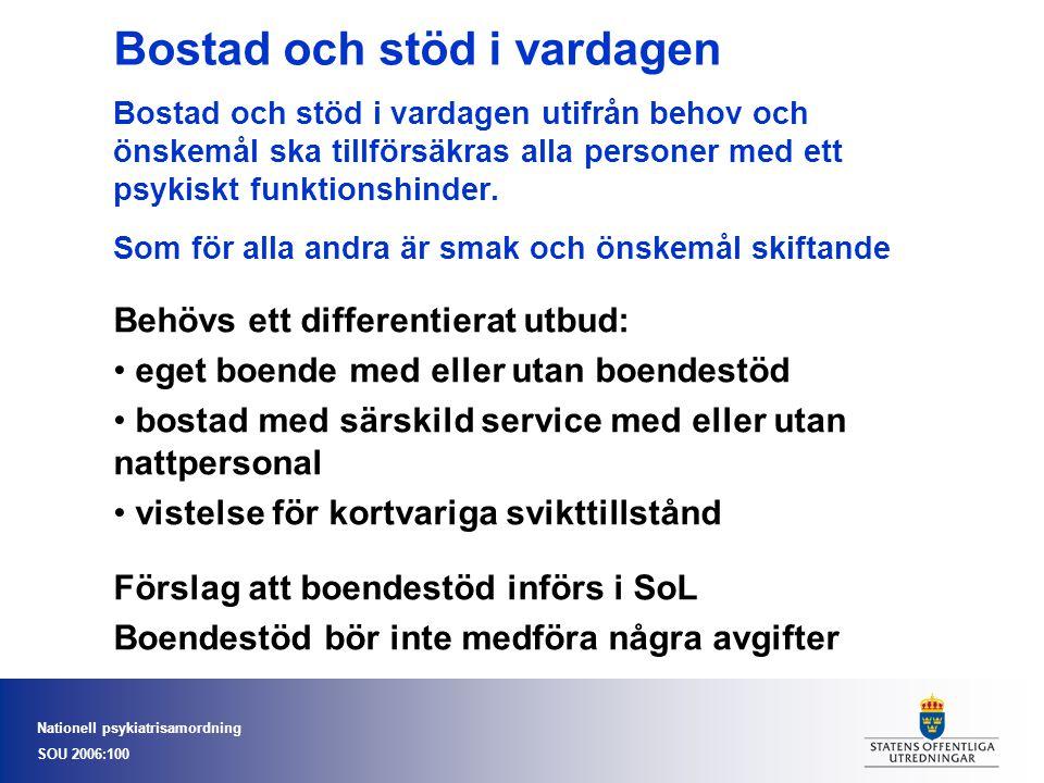 Nationell psykiatrisamordning SOU 2006:100 Bostad och stöd i vardagen Bostad och stöd i vardagen utifrån behov och önskemål ska tillförsäkras alla per