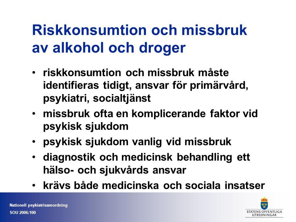 Nationell psykiatrisamordning SOU 2006:100 Riskkonsumtion och missbruk av alkohol och droger riskkonsumtion och missbruk måste identifieras tidigt, an