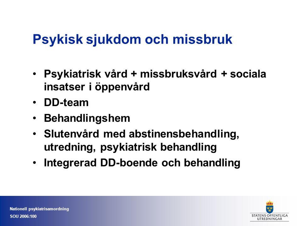 Nationell psykiatrisamordning SOU 2006:100 Psykisk sjukdom och missbruk Psykiatrisk vård + missbruksvård + sociala insatser i öppenvård DD-team Behand
