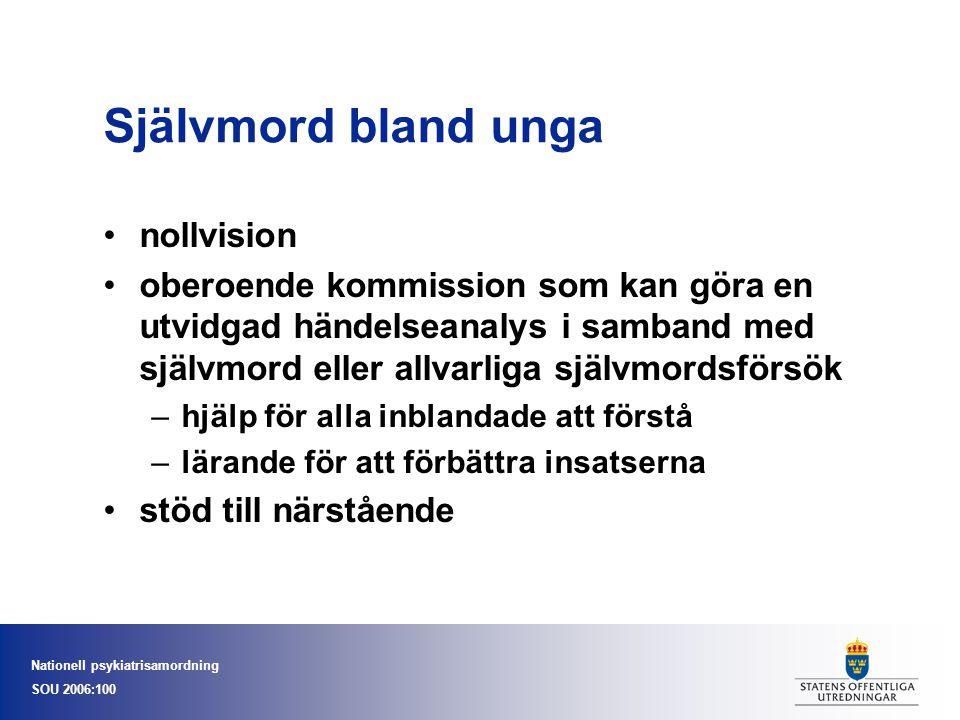 Nationell psykiatrisamordning SOU 2006:100 Självmord bland unga nollvision oberoende kommission som kan göra en utvidgad händelseanalys i samband med