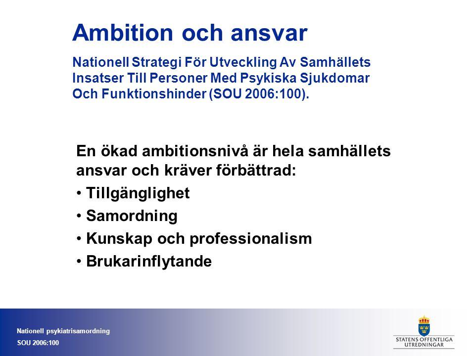 Nationell psykiatrisamordning SOU 2006:100 Psykisk hälsaPsykisk ohälsa Psykiskt funktionshinder Allvarlig psykisk sjukdom I ett sammanhang