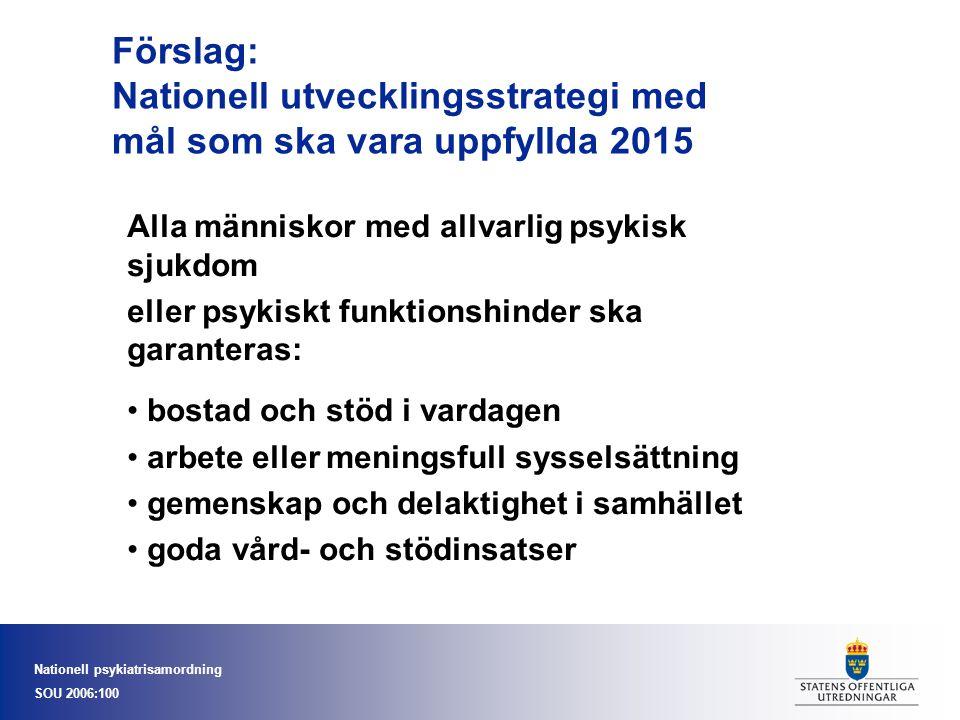 Nationell psykiatrisamordning SOU 2006:100 Förslag: Nationell utvecklingsstrategi med mål som ska vara uppfyllda 2015 Alla människor med allvarlig psy