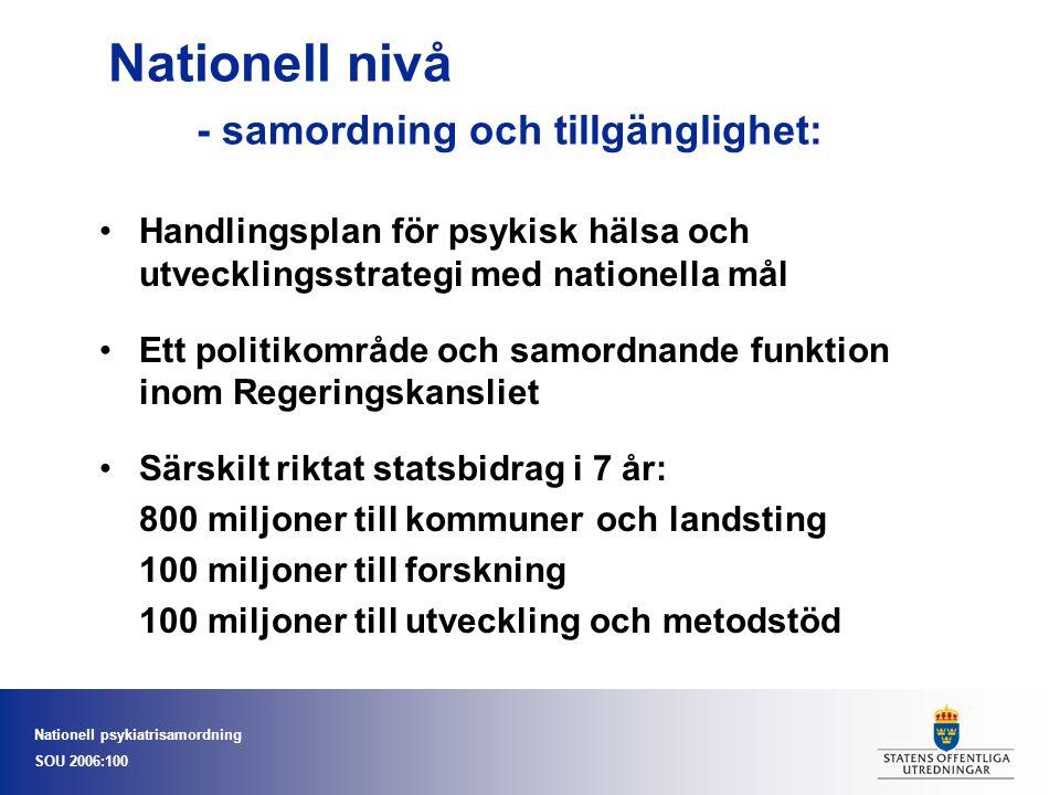 Nationell psykiatrisamordning SOU 2006:100 Nationell nivå - samordning och tillgänglighet: Handlingsplan för psykisk hälsa och utvecklingsstrategi med