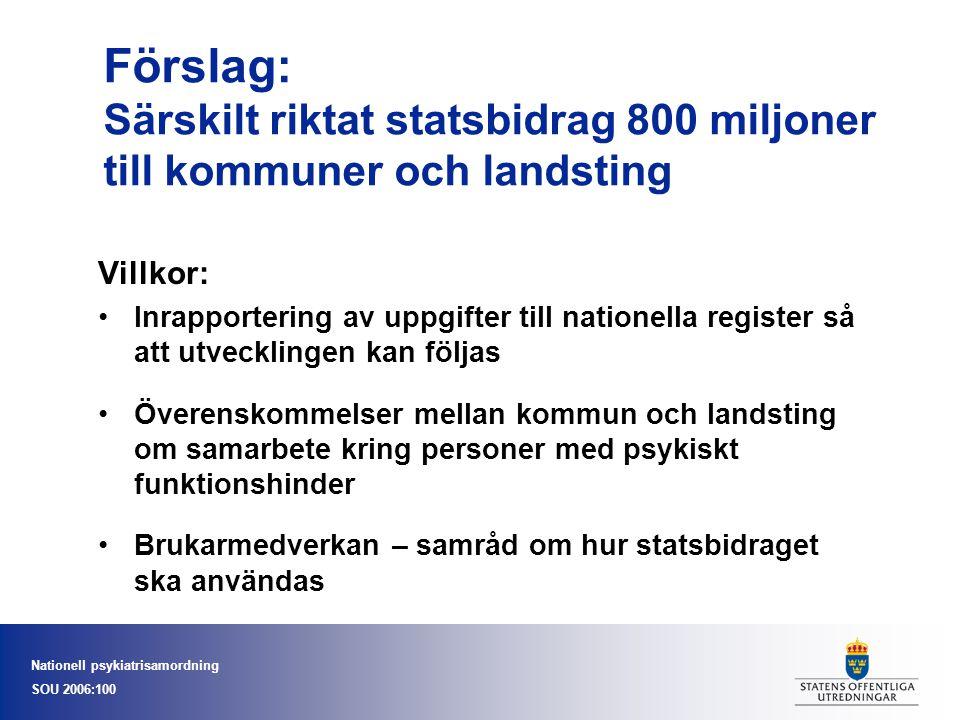 Nationell psykiatrisamordning SOU 2006:100 Förslag: Särskilt riktat statsbidrag 800 miljoner till kommuner och landsting Villkor: Inrapportering av up