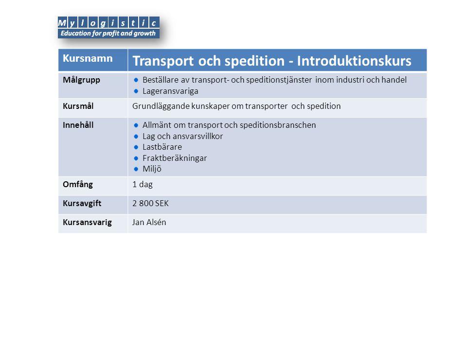 Kursnamn Transport och spedition - Diplomkurs Målgrupp Inköpare/beställare av transport- och speditionstjänster inom industri och handel Mindre företagare KursmålFördjupade kunskaper om transporter och spedition inom de olika transportslagen (väg, flyg, sjö och järnväg) Innehåll Allmänt om transport och speditionsbranschen Lag om inrikestransporter, NSAB och CMR INCO-terms Remburser Kvalitetskrav Upphandling och avtal IT-stöd Miljöpåverkan Transportekonomi (styrning och kostnadskontroll) Omfång2 + 2 dagar Kursavgift19 800 SEK KursansvarigJan Alsén Övrigt 5Kurskatalog 2012
