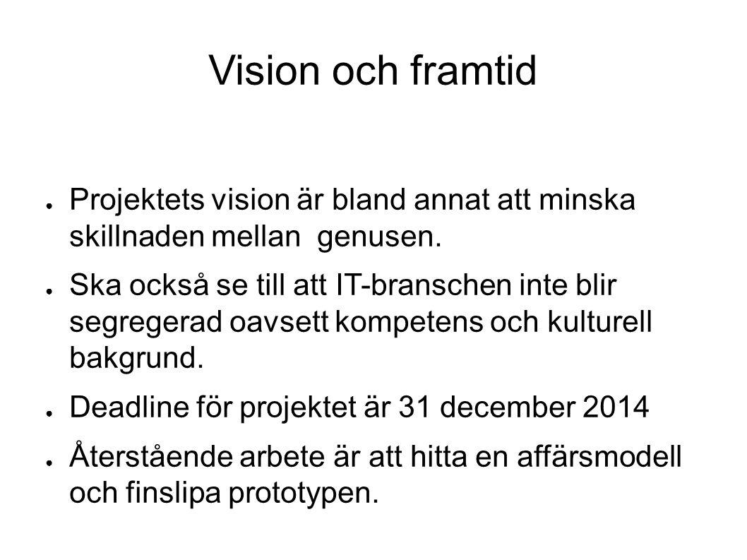 Vision och framtid ● Projektets vision är bland annat att minska skillnaden mellan genusen.