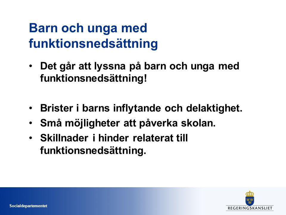 Socialdepartementet Samordning Sveriges Kommuner och Landsting (SKL) utreder förutsättningarna för ett utvecklingsarbete för förstärkt samordning av stöd till barn och unga med funktionsnedsättning och deras anhöriga.