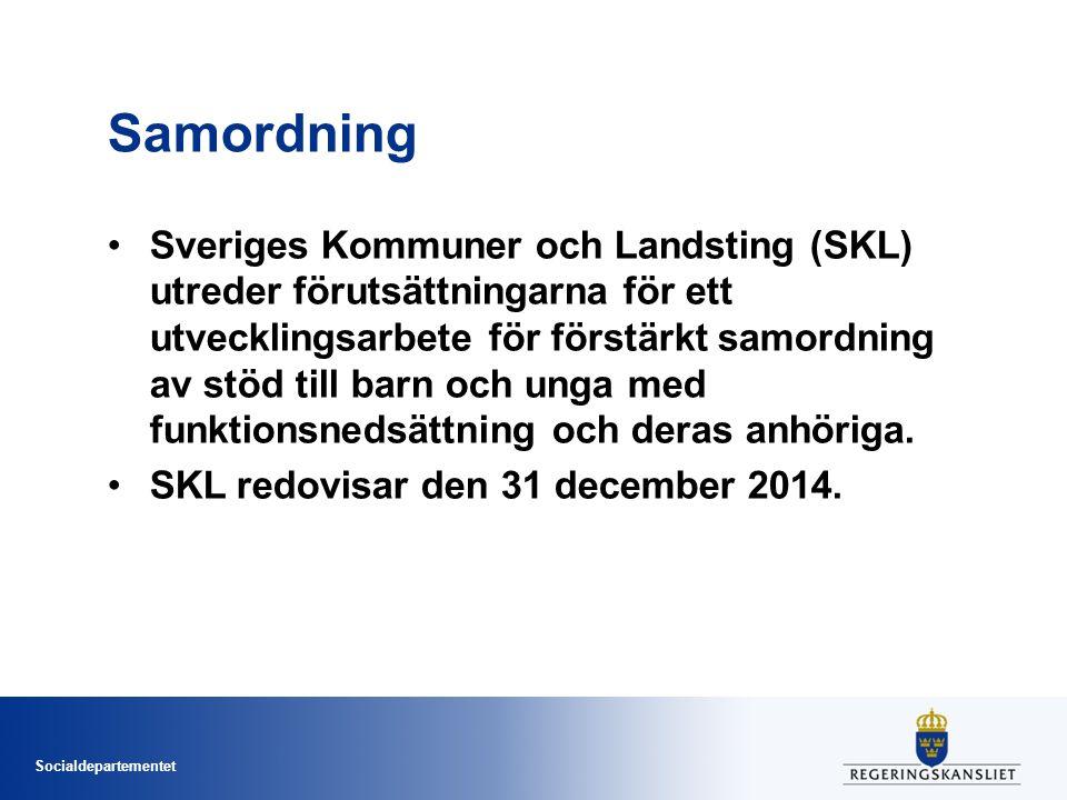 Socialdepartementet Samordning Sveriges Kommuner och Landsting (SKL) utreder förutsättningarna för ett utvecklingsarbete för förstärkt samordning av s