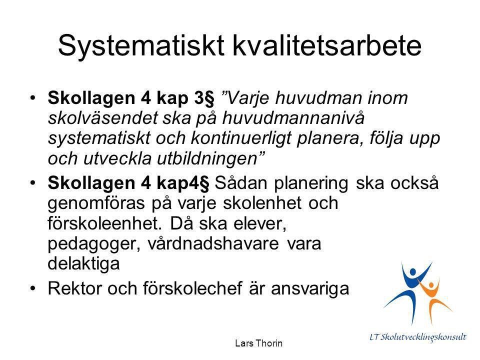 """Lars Thorin Systematiskt kvalitetsarbete Skollagen 4 kap 3§ """"Varje huvudman inom skolväsendet ska på huvudmannanivå systematiskt och kontinuerligt pla"""
