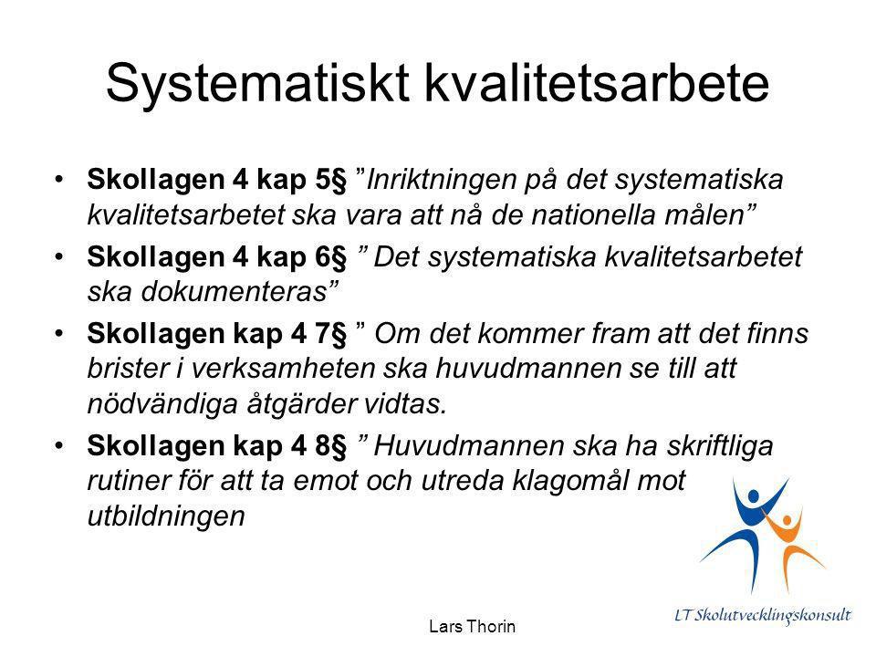 """Lars Thorin Systematiskt kvalitetsarbete Skollagen 4 kap 5§ """"Inriktningen på det systematiska kvalitetsarbetet ska vara att nå de nationella målen"""" Sk"""