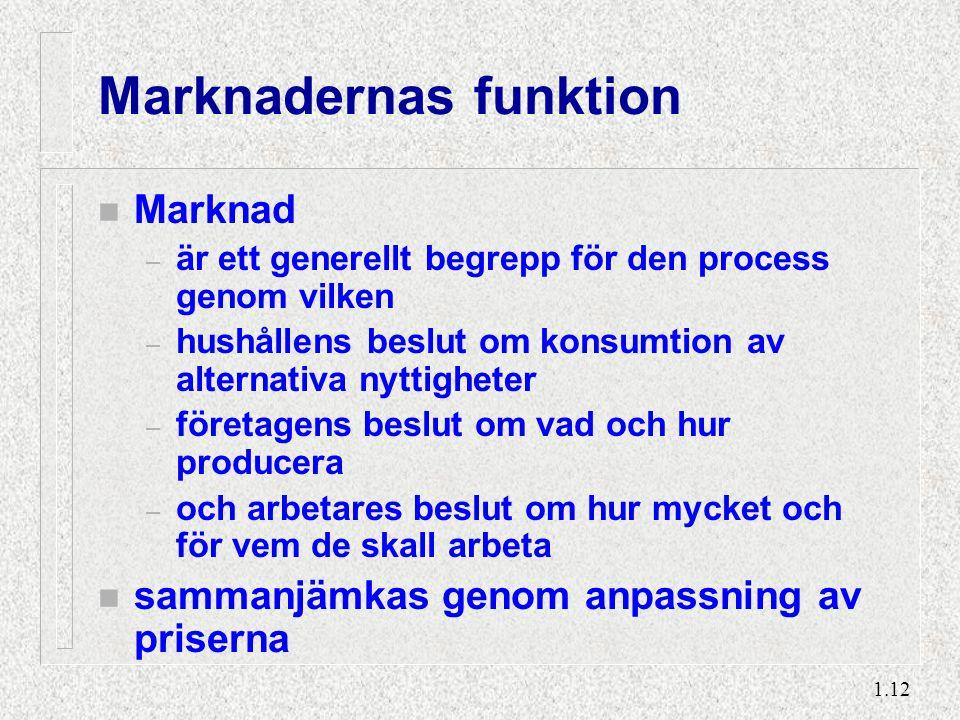 1.12 Marknadernas funktion n Marknad – är ett generellt begrepp för den process genom vilken – hushållens beslut om konsumtion av alternativa nyttighe