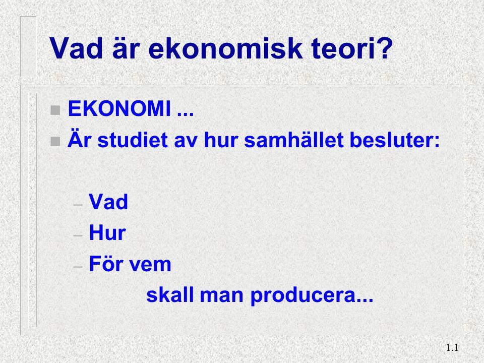 1.1 Vad är ekonomisk teori? n EKONOMI... n Är studiet av hur samhället besluter: – Vad – Hur – För vem skall man producera...
