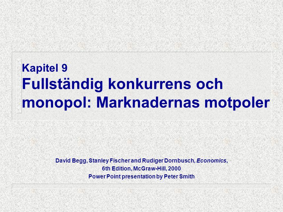 Kapitel 9 Fullständig konkurrens och monopol: Marknadernas motpoler David Begg, Stanley Fischer and Rudiger Dornbusch, Economics, 6th Edition, McGraw-Hill, 2000 Power Point presentation by Peter Smith