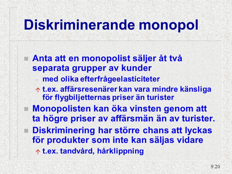 9.20 Diskriminerande monopol n Anta att en monopolist säljer åt två separata grupper av kunder – med olika efterfrågeelasticiteter á t.ex.