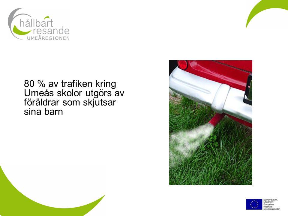 80 % av trafiken kring Umeås skolor utgörs av föräldrar som skjutsar sina barn