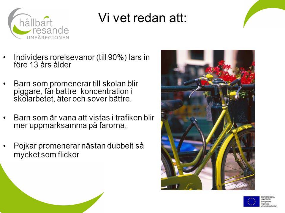 Vi vet också att… Föräldrar som … själva gick/eller cyklade till skolan som unga… själva går eller cyklar till arbetet… värderar barnens fysiska aktivitet … värderar barnens sociala interaktion när de går eller cyklar tillsammans till skolan… ….oftare har barn som går eller cyklar till skolan.