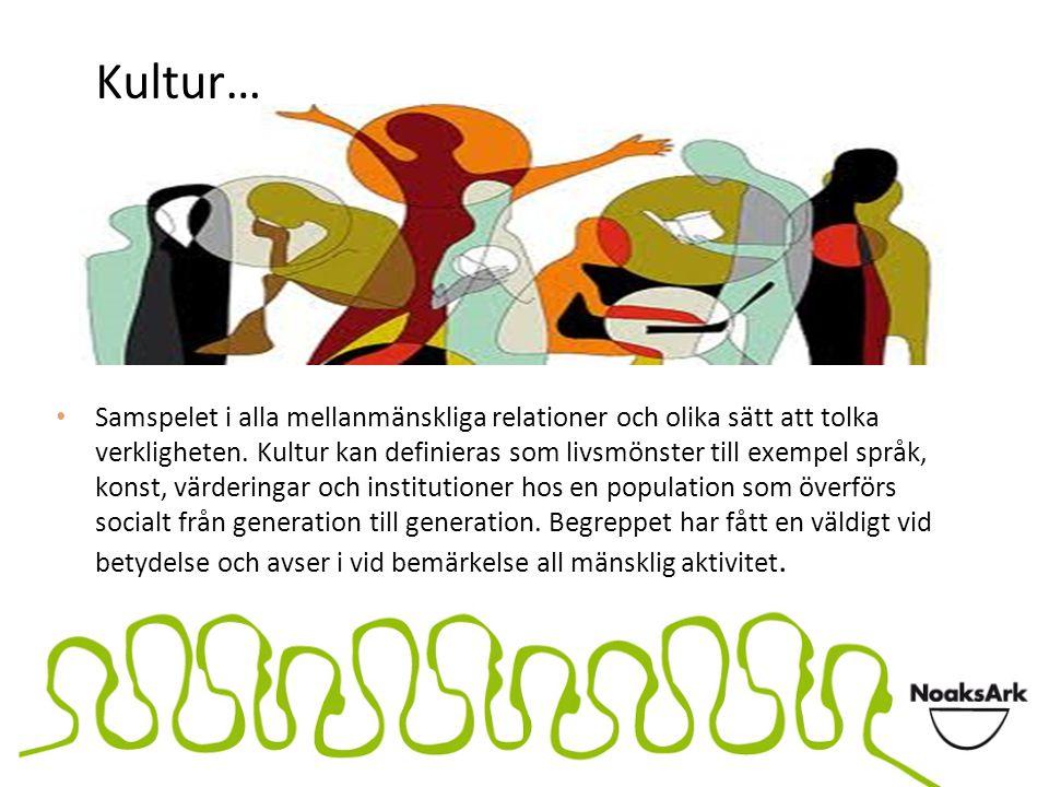 Kultur… Samspelet i alla mellanmänskliga relationer och olika sätt att tolka verkligheten. Kultur kan definieras som livsmönster till exempel språk, k