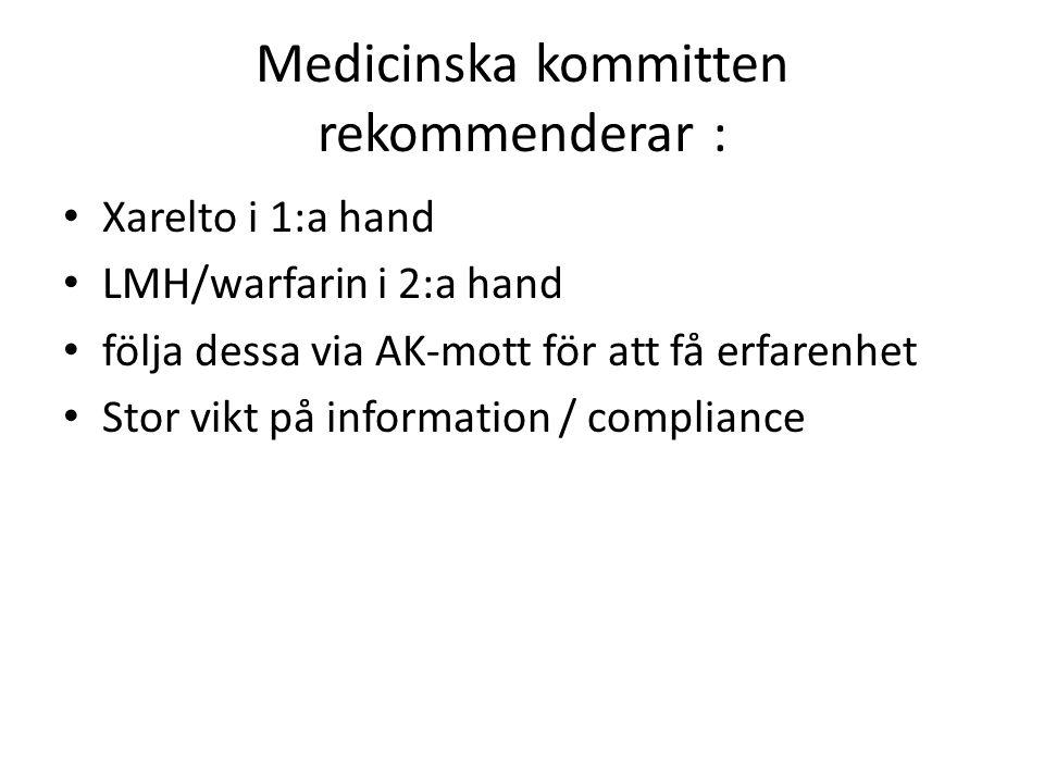 Medicinska kommitten rekommenderar : Xarelto i 1:a hand LMH/warfarin i 2:a hand följa dessa via AK-mott för att få erfarenhet Stor vikt på information
