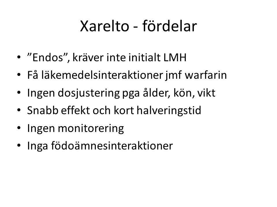 """Xarelto - fördelar """"Endos"""", kräver inte initialt LMH Få läkemedelsinteraktioner jmf warfarin Ingen dosjustering pga ålder, kön, vikt Snabb effekt och"""