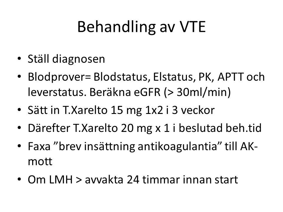 Behandling av VTE Ställ diagnosen Blodprover= Blodstatus, Elstatus, PK, APTT och leverstatus. Beräkna eGFR (> 30ml/min) Sätt in T.Xarelto 15 mg 1x2 i