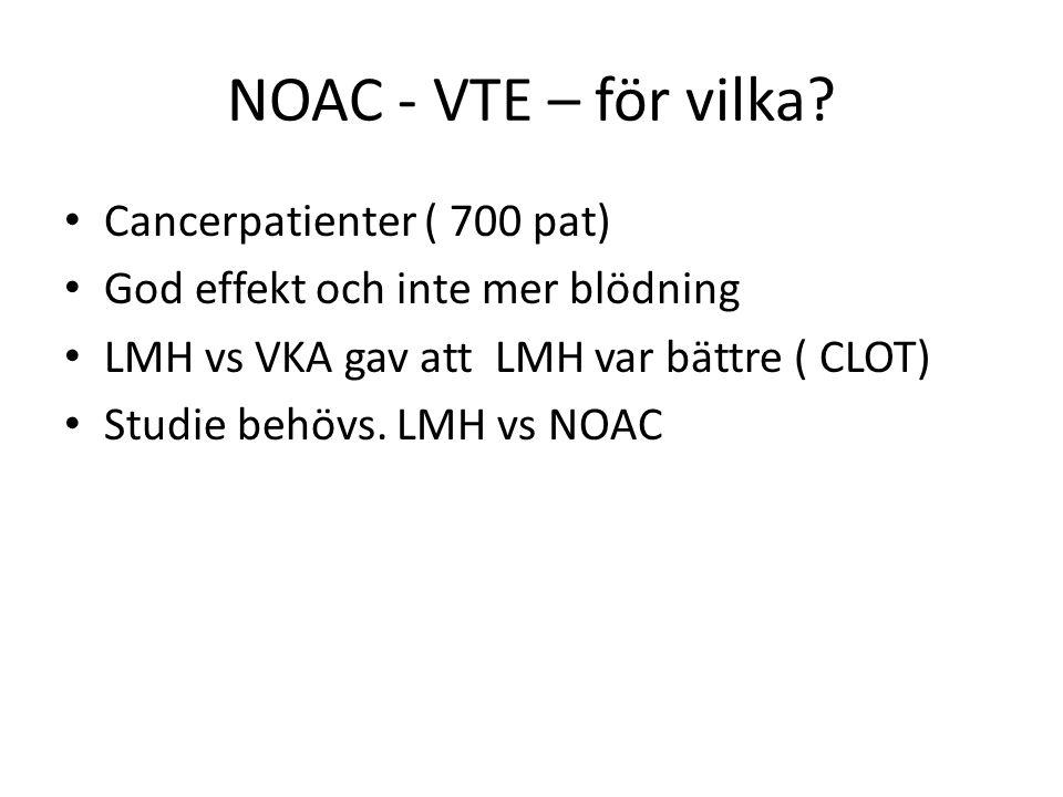 NOAC - VTE – för vilka? Cancerpatienter ( 700 pat) God effekt och inte mer blödning LMH vs VKA gav att LMH var bättre ( CLOT) Studie behövs. LMH vs NO