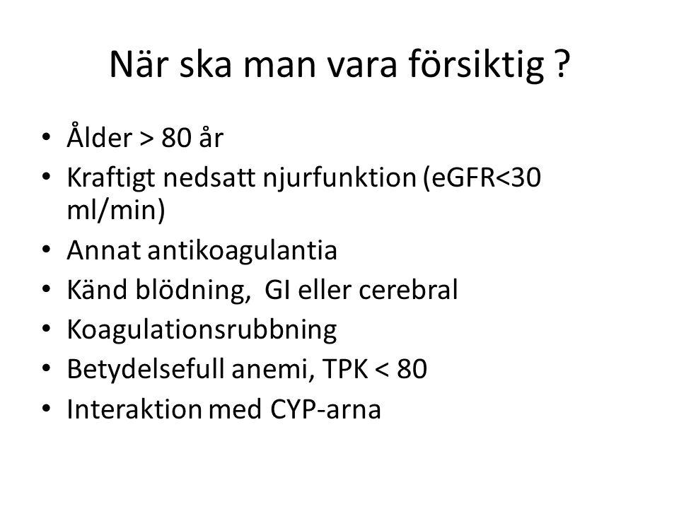 När ska man vara försiktig ? Ålder > 80 år Kraftigt nedsatt njurfunktion (eGFR<30 ml/min) Annat antikoagulantia Känd blödning, GI eller cerebral Koagu