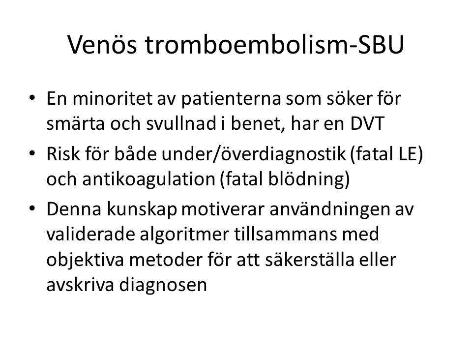 Venös tromboembolism-SBU En minoritet av patienterna som söker för smärta och svullnad i benet, har en DVT Risk för både under/överdiagnostik (fatal L