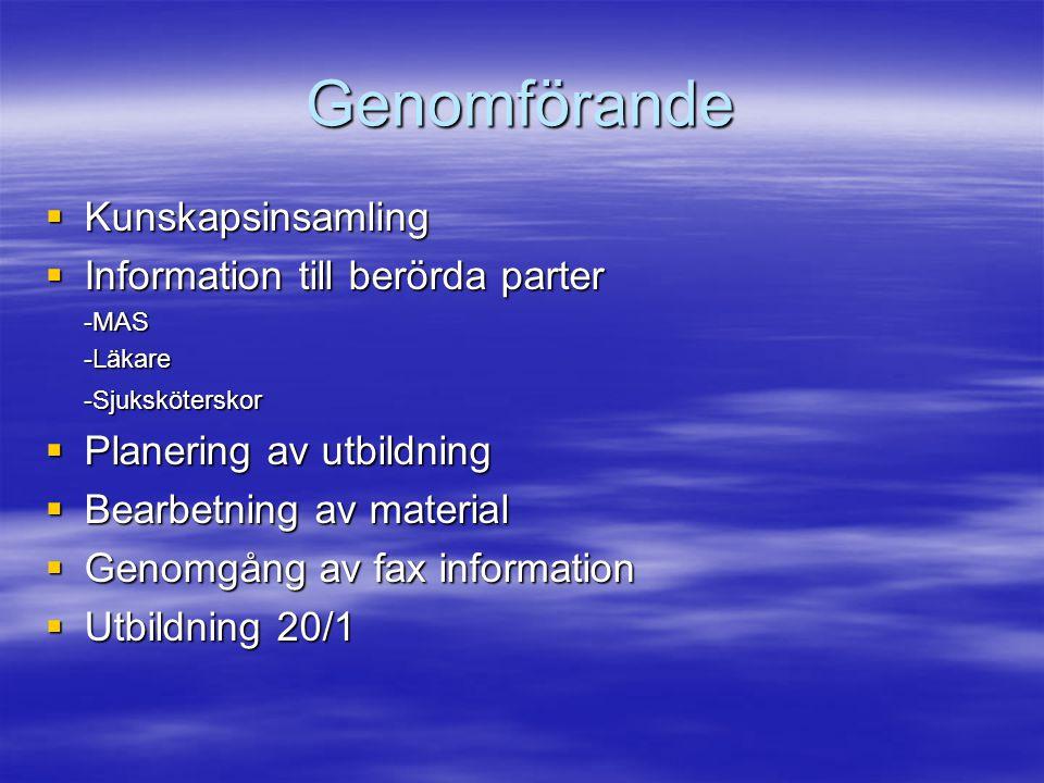 Genomförande  Kunskapsinsamling  Information till berörda parter -MAS-Läkare-Sjuksköterskor  Planering av utbildning  Bearbetning av material  Ge
