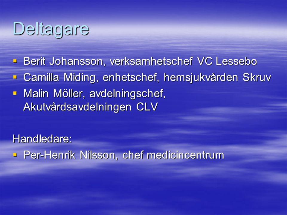 Deltagare  Berit Johansson, verksamhetschef VC Lessebo  Camilla Miding, enhetschef, hemsjukvården Skruv  Malin Möller, avdelningschef, Akutvårdsavd