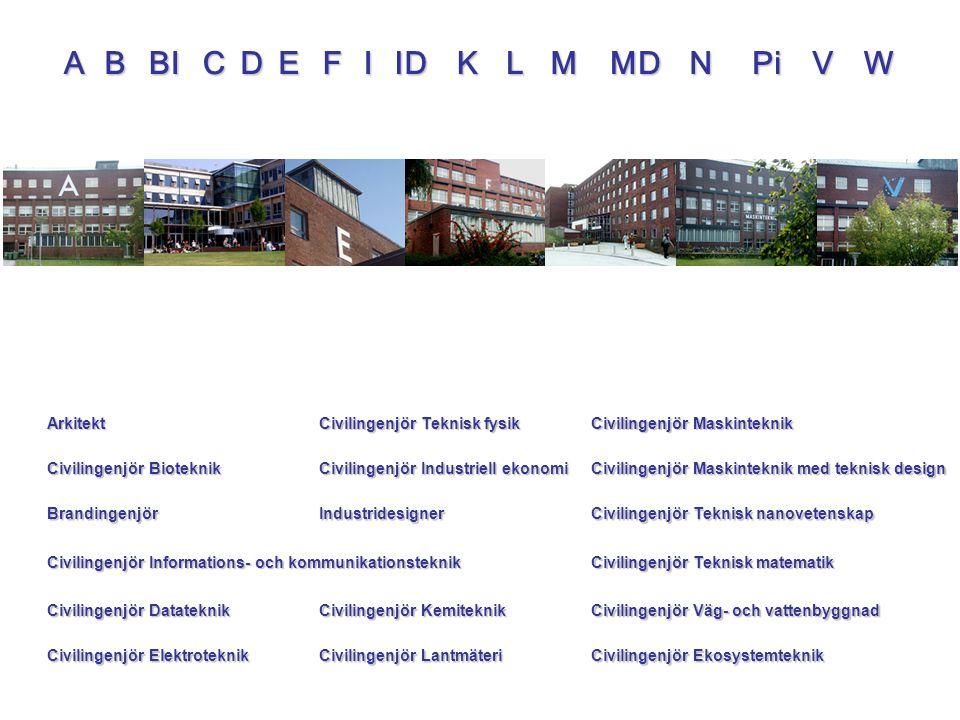 ABCDEFBILVWKPiIIDMNMD Arkitekt Civilingenjör Bioteknik Brandingenjör Civilingenjör Informations- och kommunikationsteknik Civilingenjör Datateknik Civ