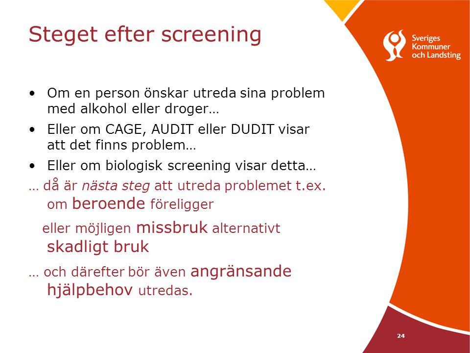 24 Steget efter screening Om en person önskar utreda sina problem med alkohol eller droger… Eller om CAGE, AUDIT eller DUDIT visar att det finns probl