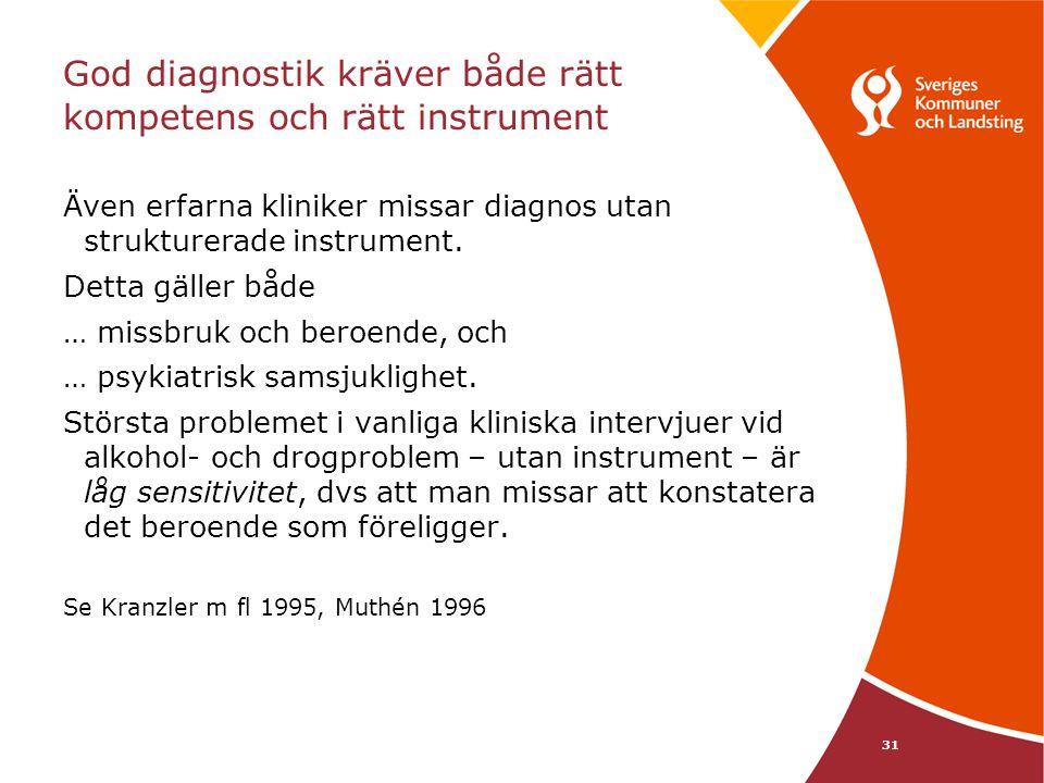 31 God diagnostik kräver både rätt kompetens och rätt instrument Även erfarna kliniker missar diagnos utan strukturerade instrument. Detta gäller både