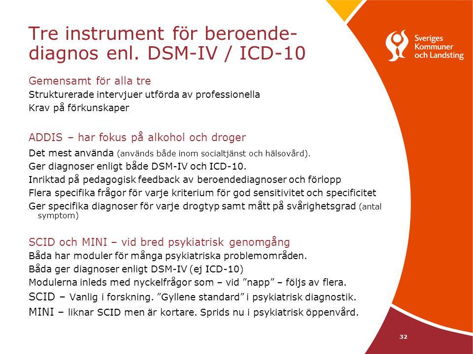 32 Tre instrument för beroende- diagnos enl. DSM-IV / ICD-10 Gemensamt för alla tre Strukturerade intervjuer utförda av professionella Krav på förkuns