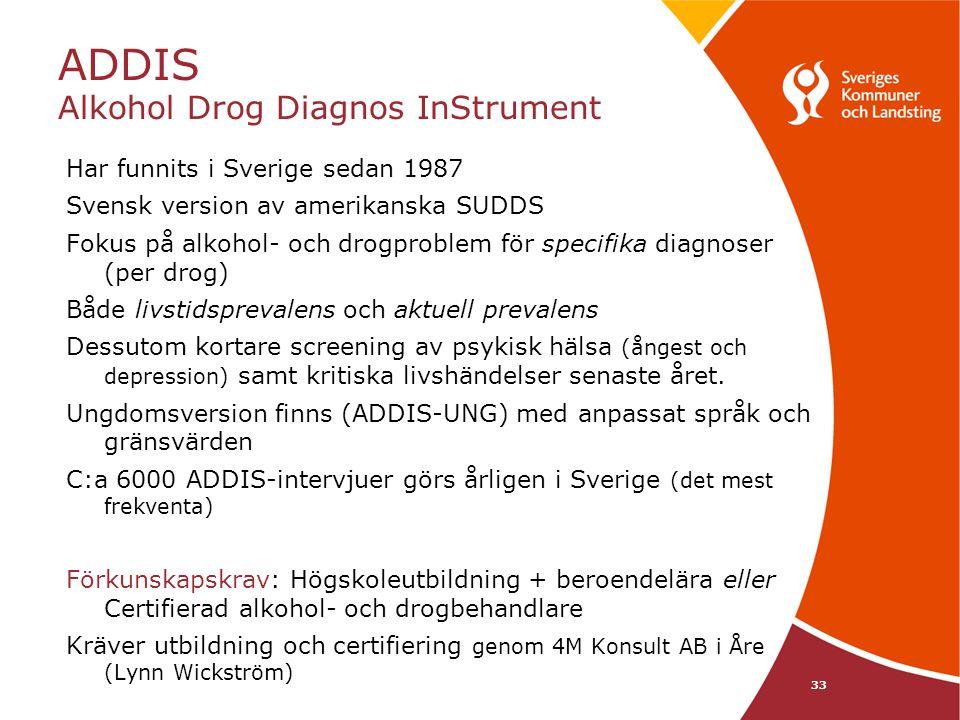 33 ADDIS Alkohol Drog Diagnos InStrument Har funnits i Sverige sedan 1987 Svensk version av amerikanska SUDDS Fokus på alkohol- och drogproblem för sp