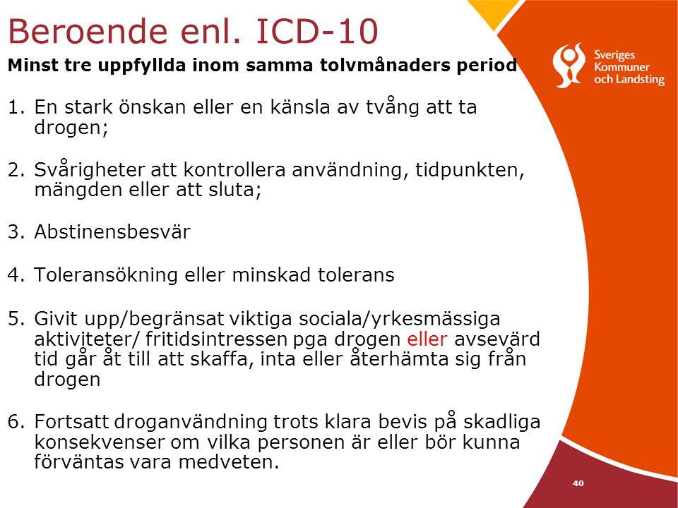 Beroende enl. ICD-10 Minst tre uppfyllda inom samma tolvmånaders period 1.En stark önskan eller en känsla av tvång att ta drogen; 2.Svårigheter att ko