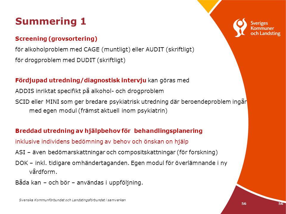 Svenska Kommunförbundet och Landstingsförbundet i samverkan 56 Summering 1 Screening (grovsortering) för alkoholproblem med CAGE (muntligt) eller AUDI