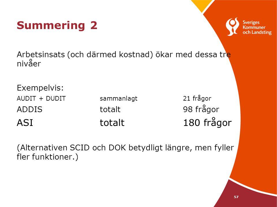 Summering 2 Arbetsinsats (och därmed kostnad) ökar med dessa tre nivåer Exempelvis: AUDIT + DUDIT sammanlagt 21 frågor ADDIS totalt 98 frågor ASI tota