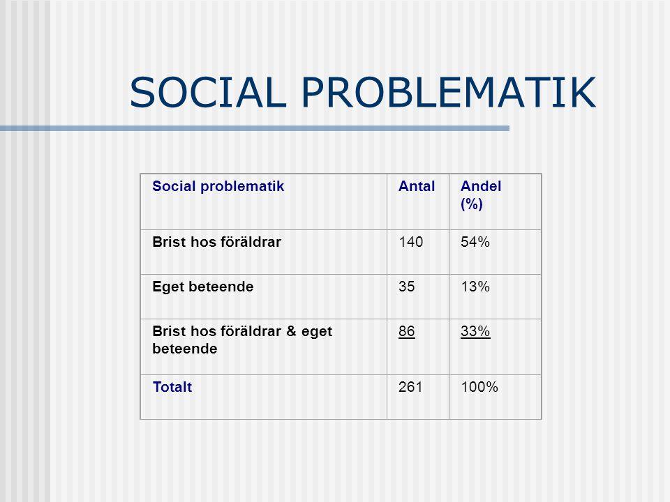 SOCIAL PROBLEMATIK Social problematikAntalAndel (%) Brist hos föräldrar14054% Eget beteende3513% Brist hos föräldrar & eget beteende 8633% Totalt26110