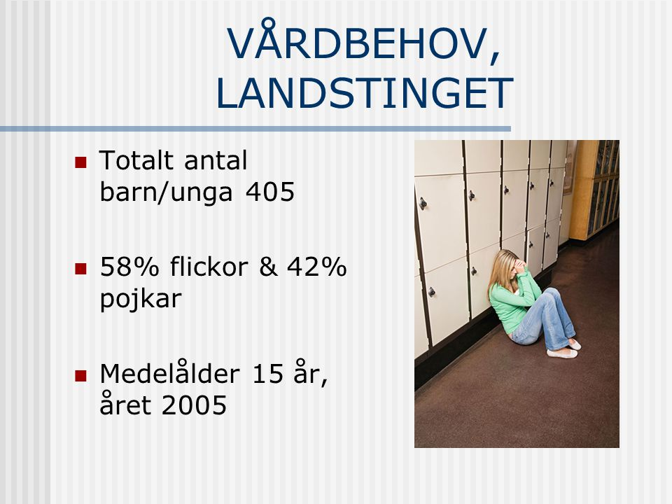 VÅRDBEHOV, LANDSTINGET Totalt antal barn/unga 405 58% flickor & 42% pojkar Medelålder 15 år, året 2005