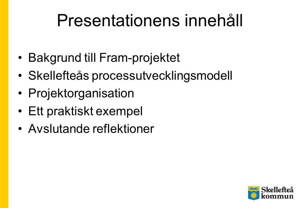 Presentationens innehåll Bakgrund till Fram-projektet Skellefteås processutvecklingsmodell Projektorganisation Ett praktiskt exempel Avslutande reflek