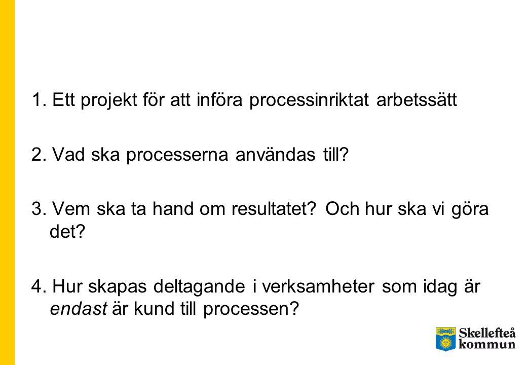 1. Ett projekt för att införa processinriktat arbetssätt 2. Vad ska processerna användas till? 3. Vem ska ta hand om resultatet? Och hur ska vi göra d