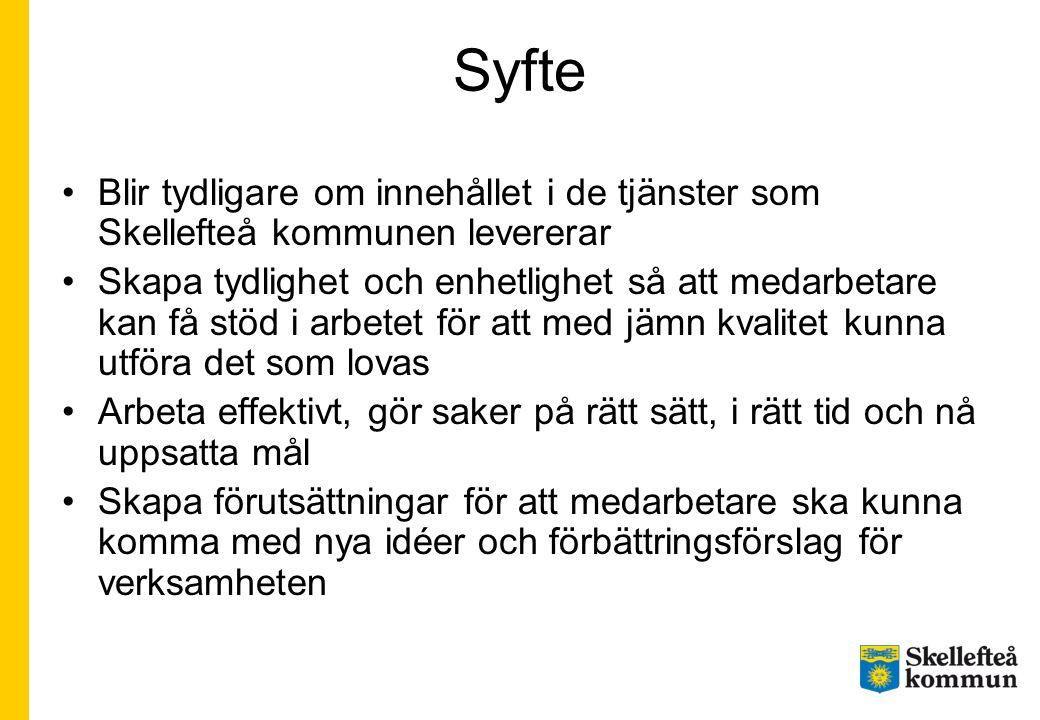 Syfte Blir tydligare om innehållet i de tjänster som Skellefteå kommunen levererar Skapa tydlighet och enhetlighet så att medarbetare kan få stöd i ar