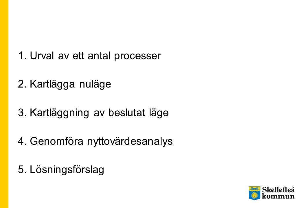1. Urval av ett antal processer 2. Kartlägga nuläge 3. Kartläggning av beslutat läge 4. Genomföra nyttovärdesanalys 5. Lösningsförslag