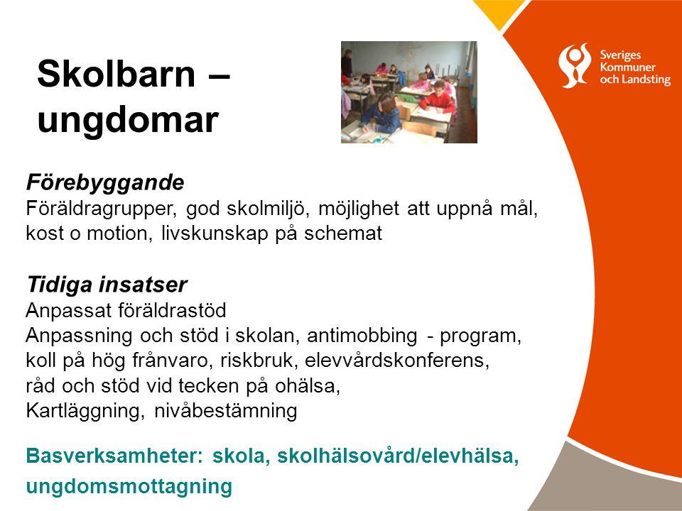 Skolbarn – ungdomar Förebyggande Föräldragrupper, god skolmiljö, möjlighet att uppnå mål, kost o motion, livskunskap på schemat Tidiga insatser Anpass