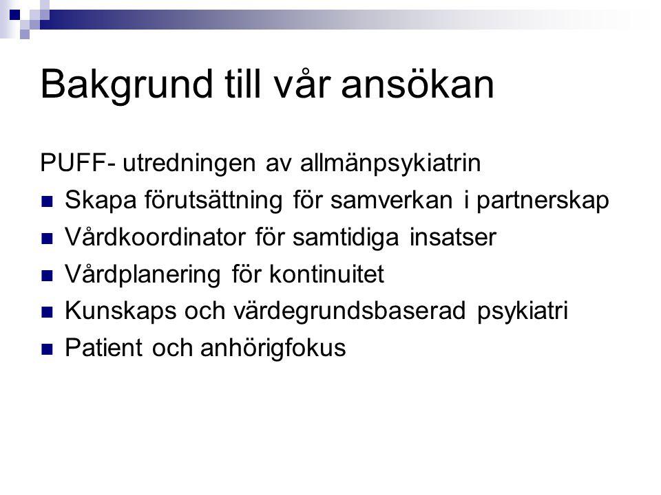 Bakgrund till vår ansökan PUFF- utredningen av allmänpsykiatrin Skapa förutsättning för samverkan i partnerskap Vårdkoordinator för samtidiga insatser