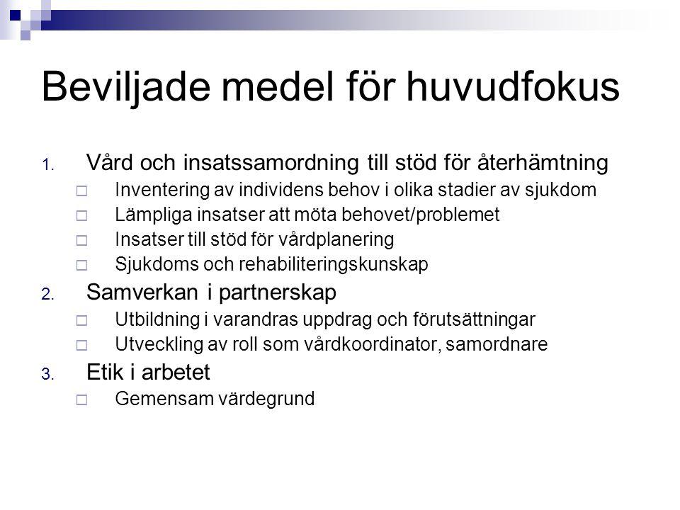 Beviljade medel för huvudfokus 1. Vård och insatssamordning till stöd för återhämtning  Inventering av individens behov i olika stadier av sjukdom 