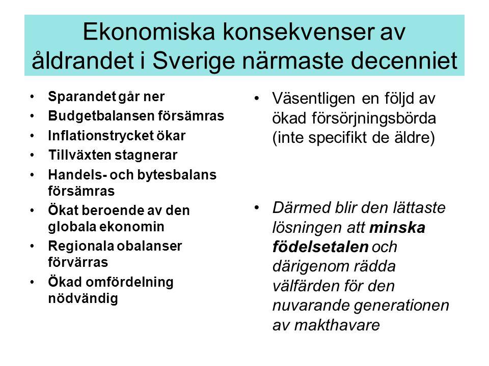 Ekonomiska konsekvenser av åldrandet i Sverige närmaste decenniet Sparandet går ner Budgetbalansen försämras Inflationstrycket ökar Tillväxten stagner