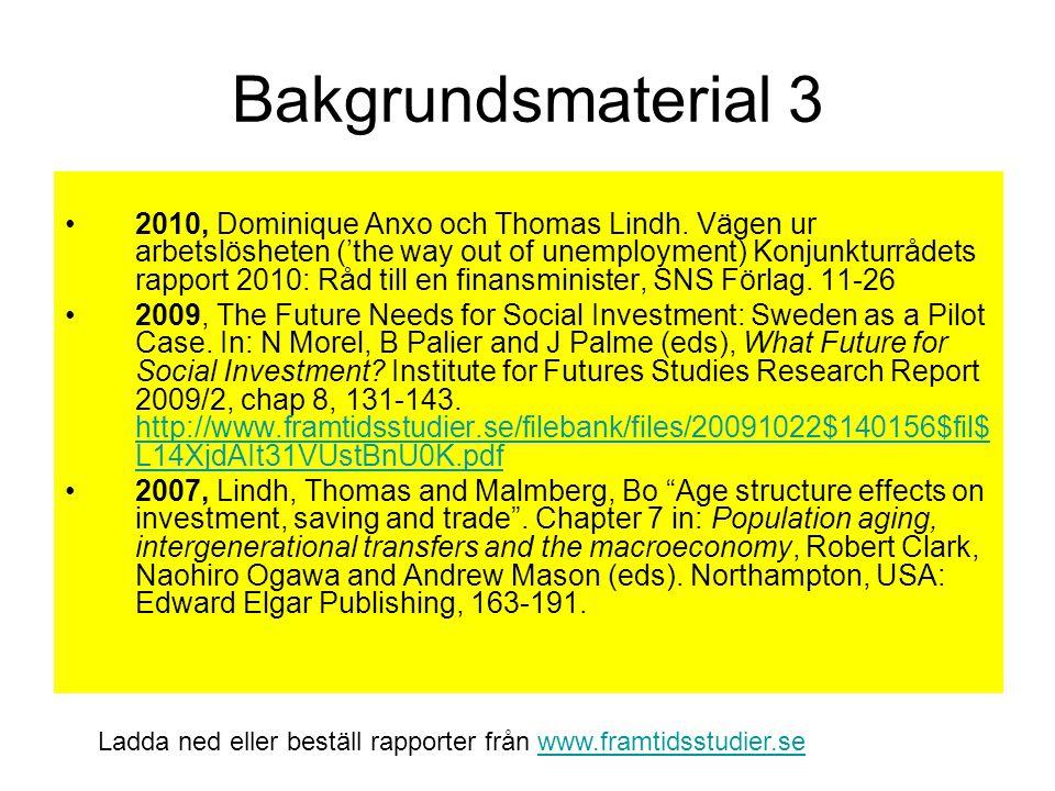 Bakgrundsmaterial 3 2010, Dominique Anxo och Thomas Lindh. Vägen ur arbetslösheten ('the way out of unemployment) Konjunkturrådets rapport 2010: Råd t