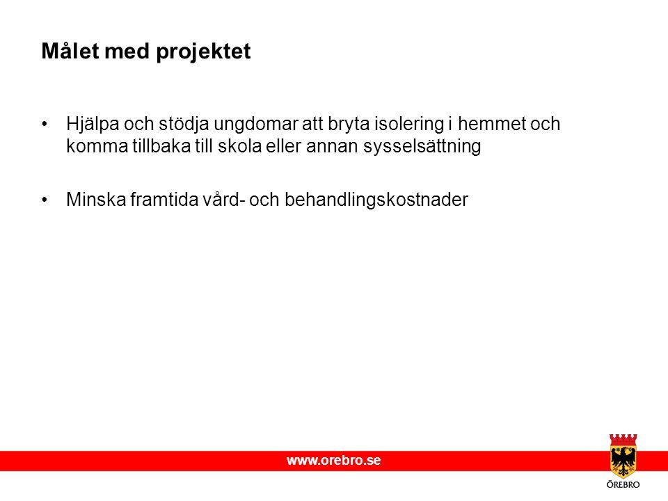 www.orebro.se Målet med projektet Hjälpa och stödja ungdomar att bryta isolering i hemmet och komma tillbaka till skola eller annan sysselsättning Min