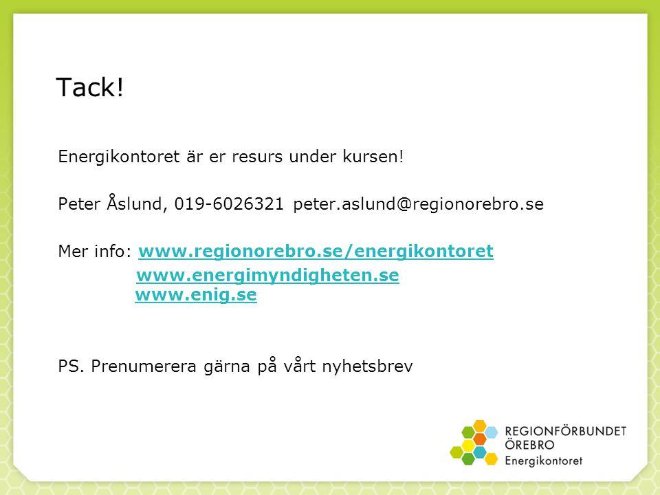 Tack! Energikontoret är er resurs under kursen! Peter Åslund, 019-6026321 peter.aslund@regionorebro.se Mer info: www.regionorebro.se/energikontoretwww